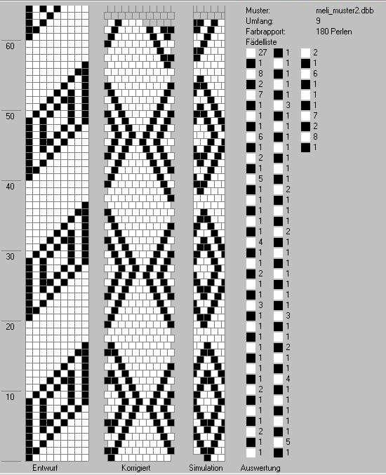 Schlauchketten Hakeln Musterbibliothek Meli Muster2 Glasperlen Hakelanleitungen Perlenkette Muster Hakeln Perlen Armbander