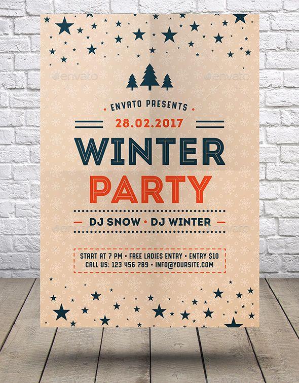 Winter Party Flyer Template Vector Eps Ai Illustrator Flyer