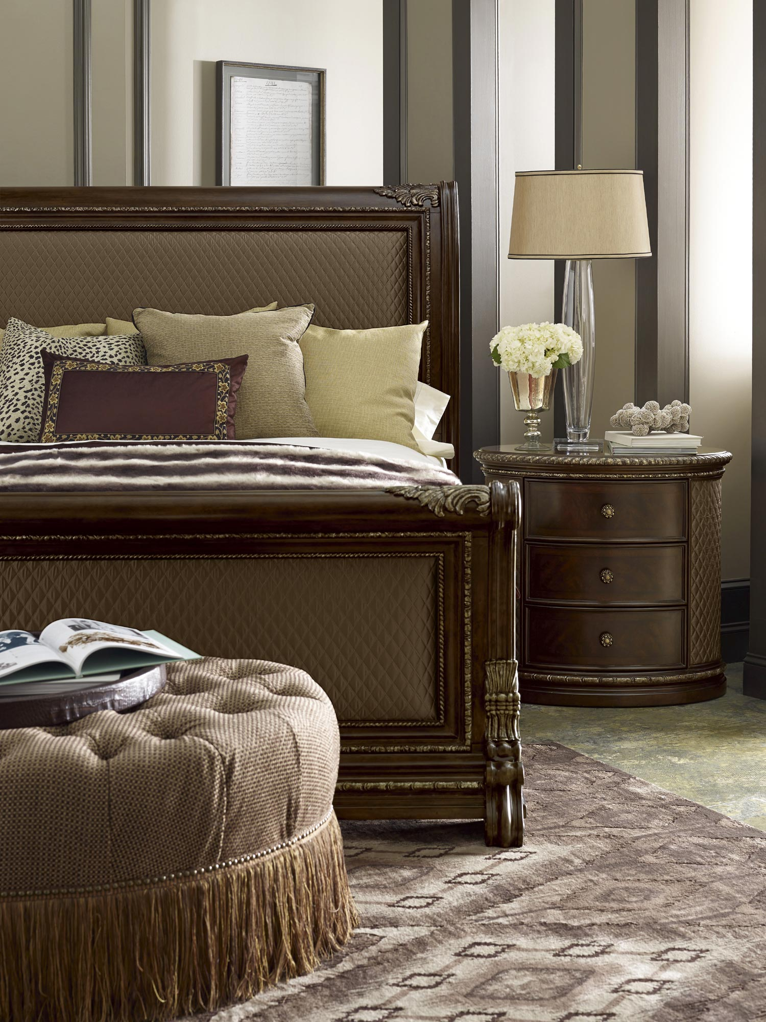 Gables Queen Upholstered Sleigh Bed - Art Furniture - Home