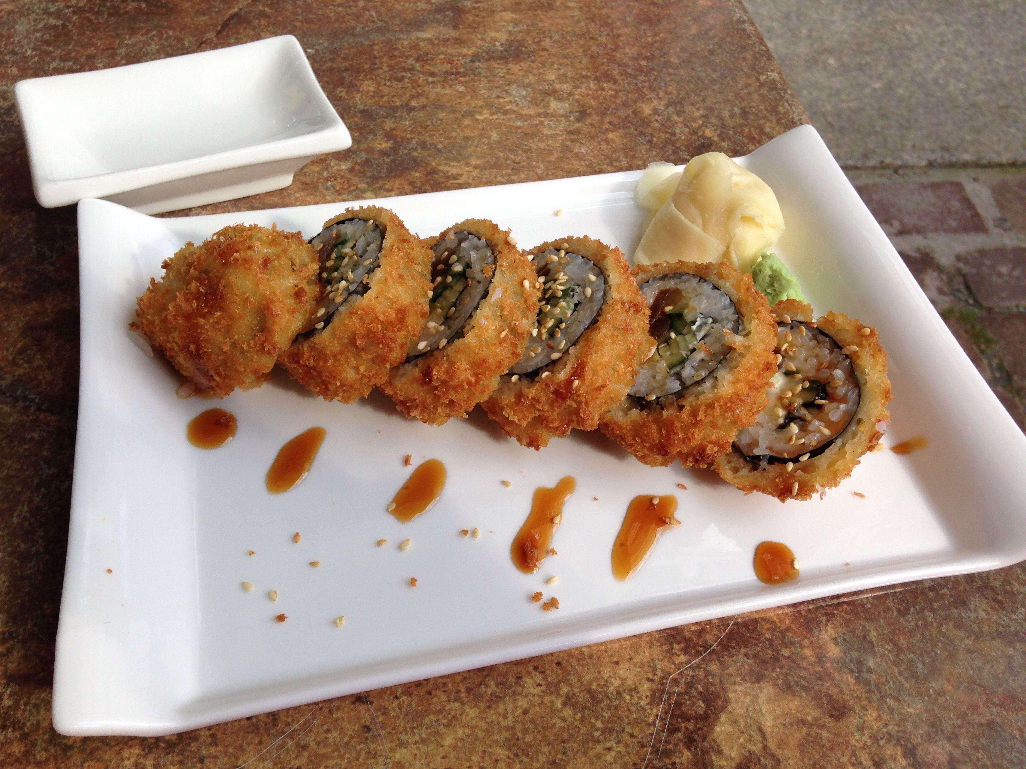 Vegan Coconut Panko Tempura Sushi Rolls Avocado Oshinko