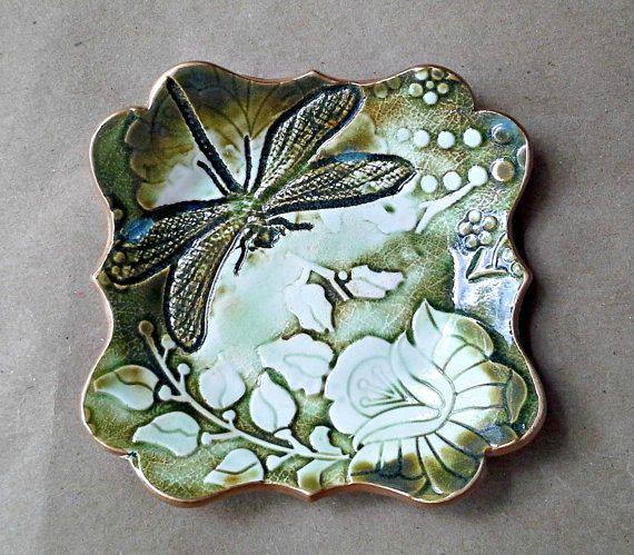 Ceramic Moss Green and White Damask trinket dish soap dish Jewelry Holder Dish 4  Ceramic Moss Green and White Damask trinket dish soap dish Jewelry Holder Dish 4 34 inch...