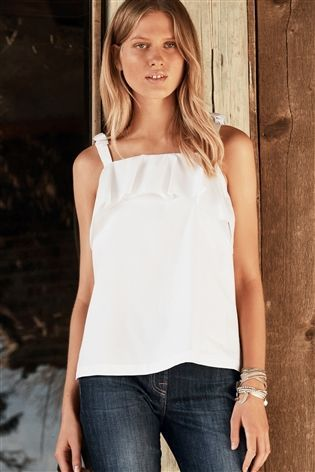 Buy White Tie Shoulder Cami from the Next UK online shop