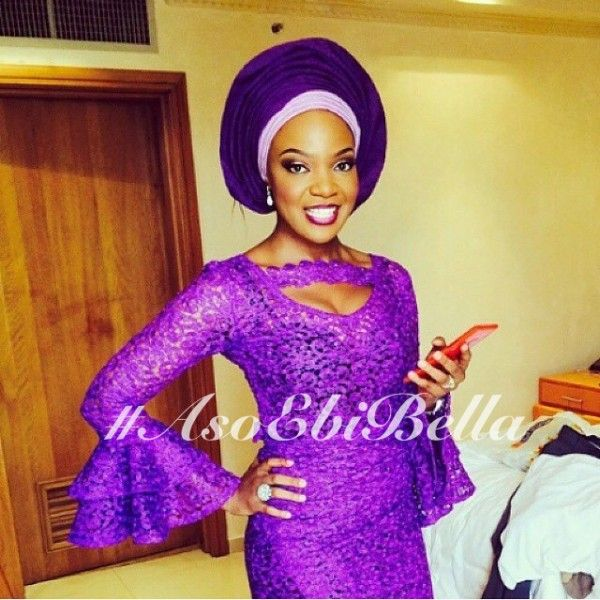Purple Lace Blouse & Wrapper & Purple & Lilac Aso-Oke Gele