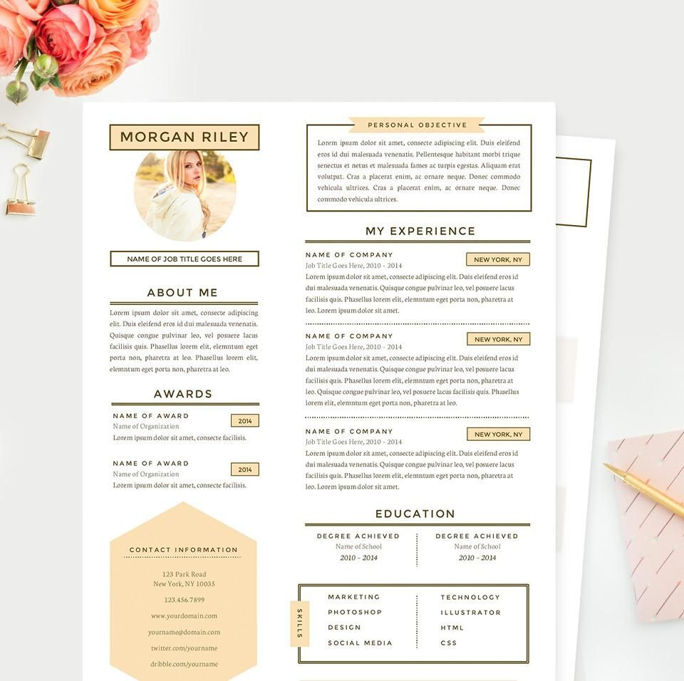 pretty sunrise resume  cover letter  u0026 references template package