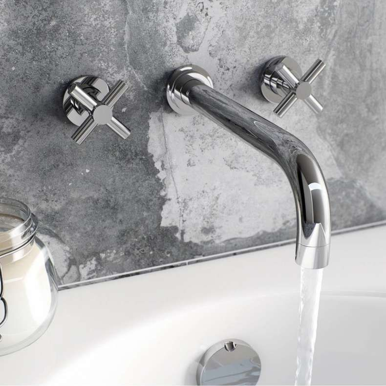 How To Decorate Your Bathroom With Wall Mounted Basin Taps Bathroom Darbylanefurniture Com In 2020 Wall Mounted Bath Taps Bath Mixer Taps Wall Mounted Basins