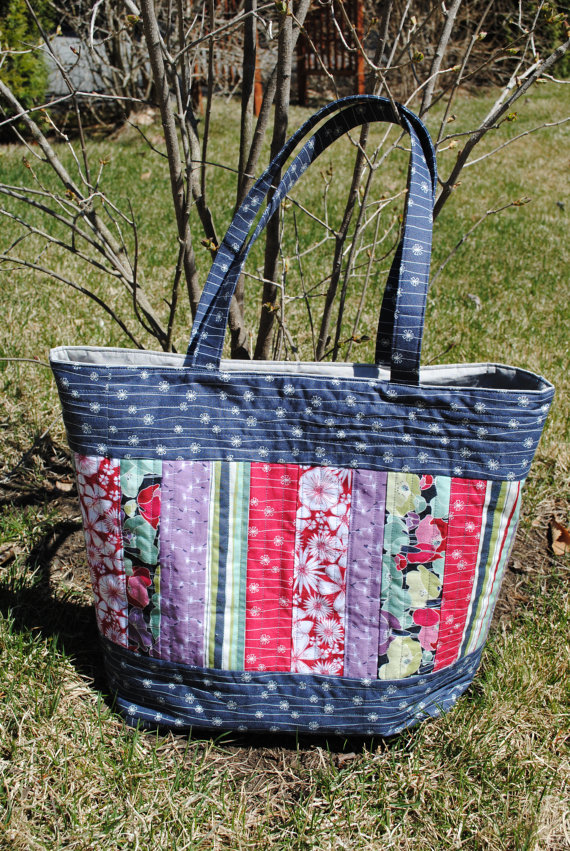 Patchwork Tote Bag Pattern Large Quilted Tote Mary Elizabeth Bag