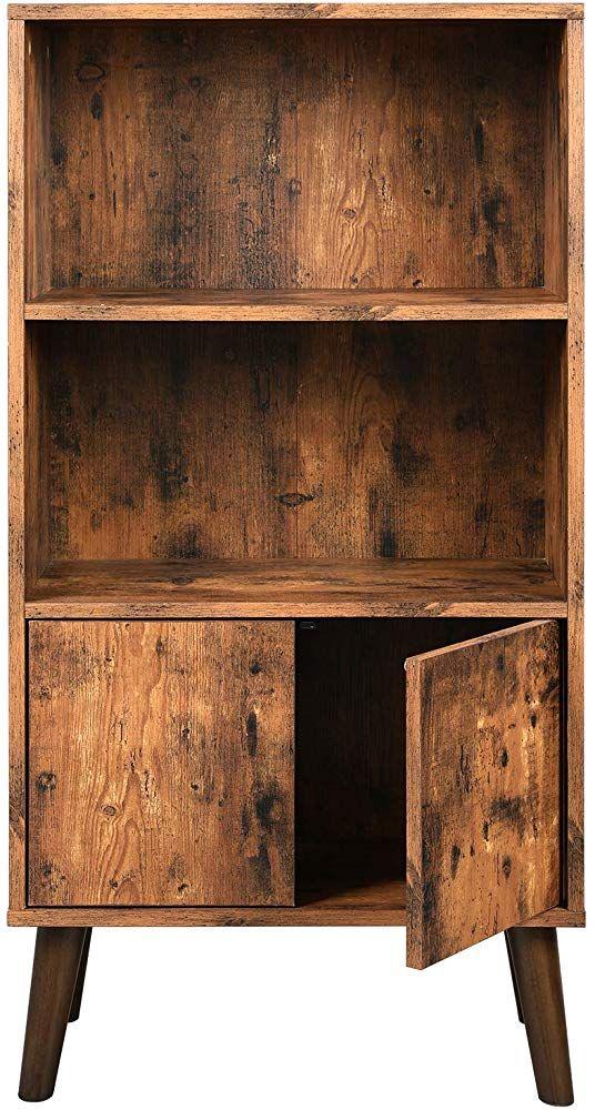 Retro Bücherschrank Bücherregal Standregal Mit 2 Ablagen