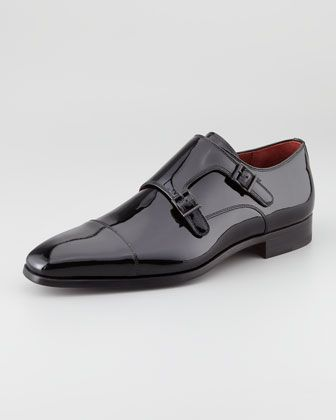 Patent Double-Monk Loafer by Magnanni for Neiman Marcus at Neiman Marcus.