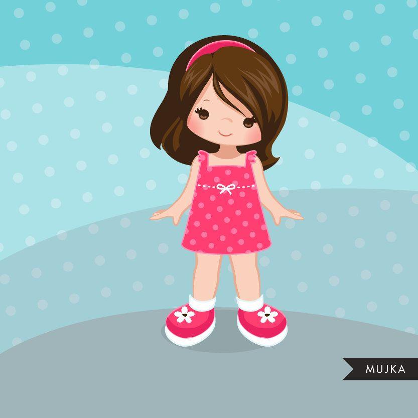 Cute Beautiful Shy Little Girl Cartoon Character Watercolor