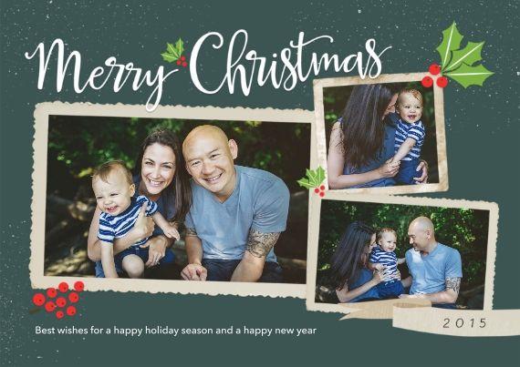holly banner year 2015 christmas card design on snapfish christmascards holidaycards snapfish - Snapfish Christmas Cards
