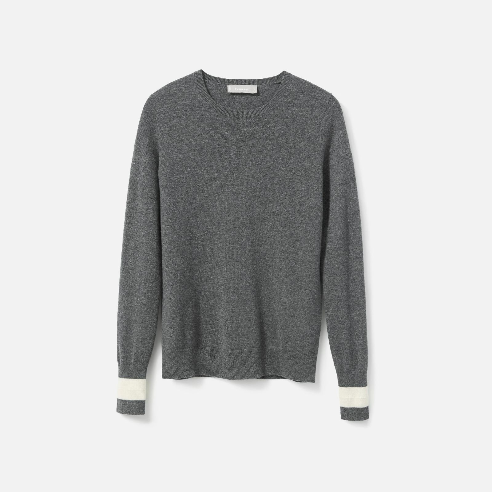 4410bad4a1ca Women s Cashmere Crew Sweater by Everlane in Charcoal   Bone Tipped ...