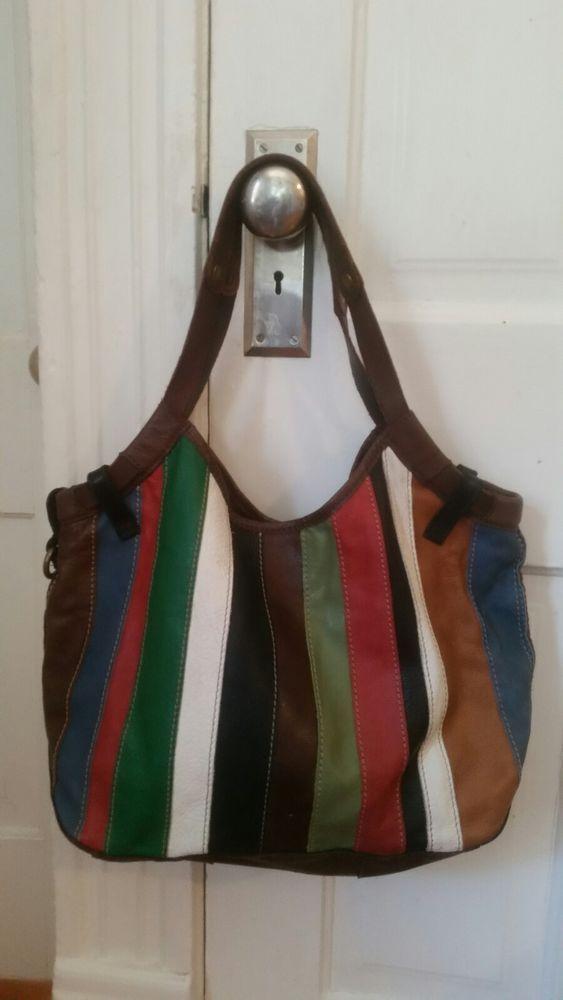Lucky Brand Leather Multi Color Stripe Bag Purse Boho Hippie Shoulder Purses Bags Pinterest