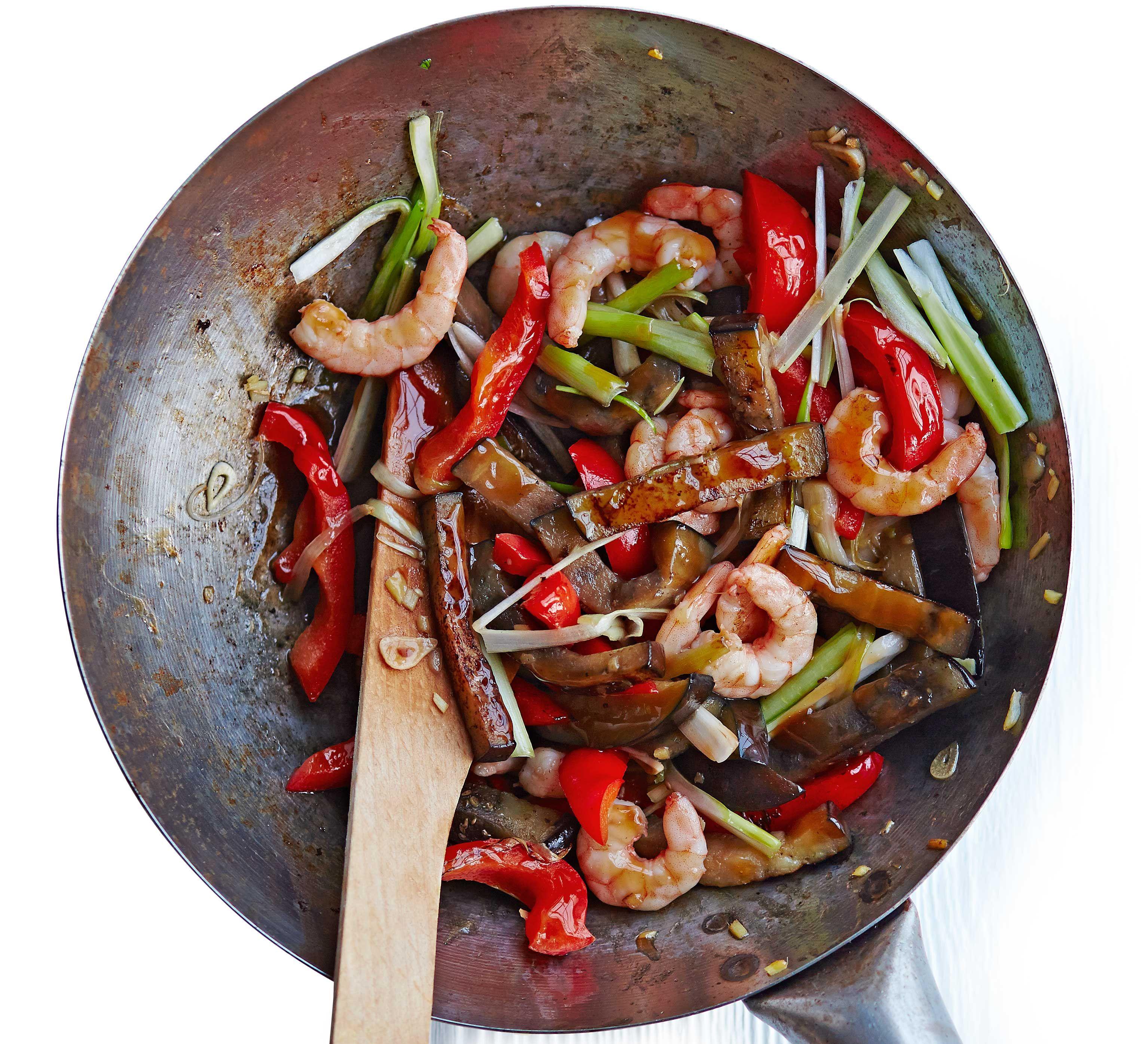 Aubergine with prawns in oyster sauce | Recipe | Bbc good ...