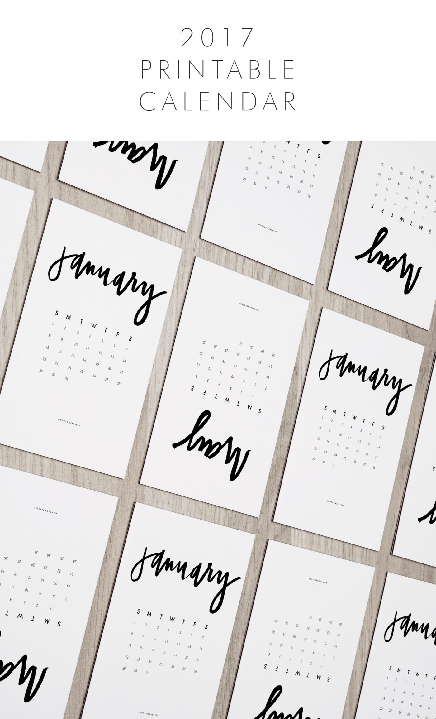 Hand Lettered Calendar Printable