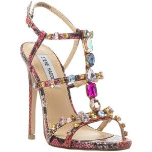 Encrusted with an array of opulent gemstones, Steve Madden's majestic  jewelled sandals will be sure to capture glances. Styled with jewelled  T-bar straps, ...