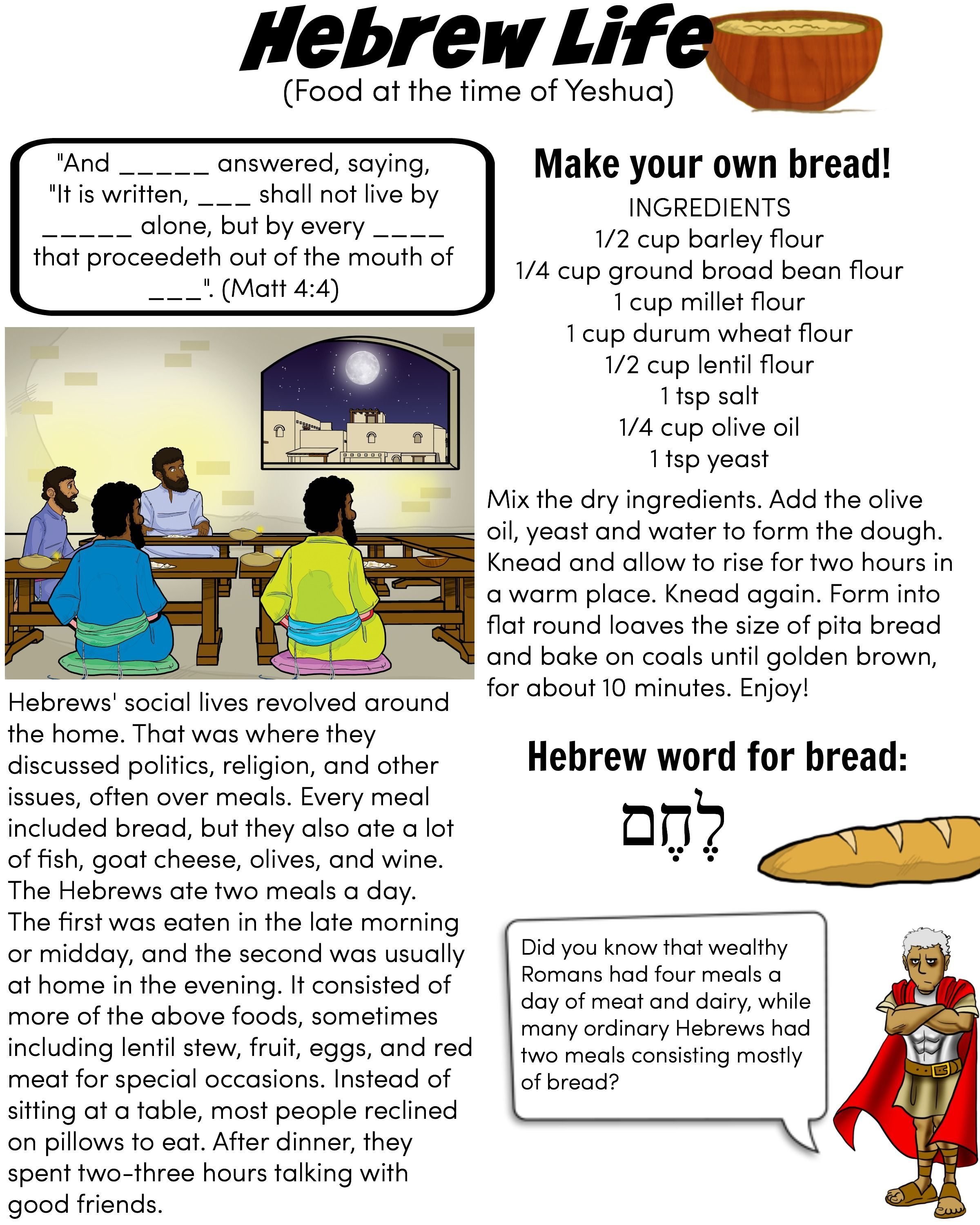 Hebrew Life Food At The Time Of Yeshua Jesus Make Your