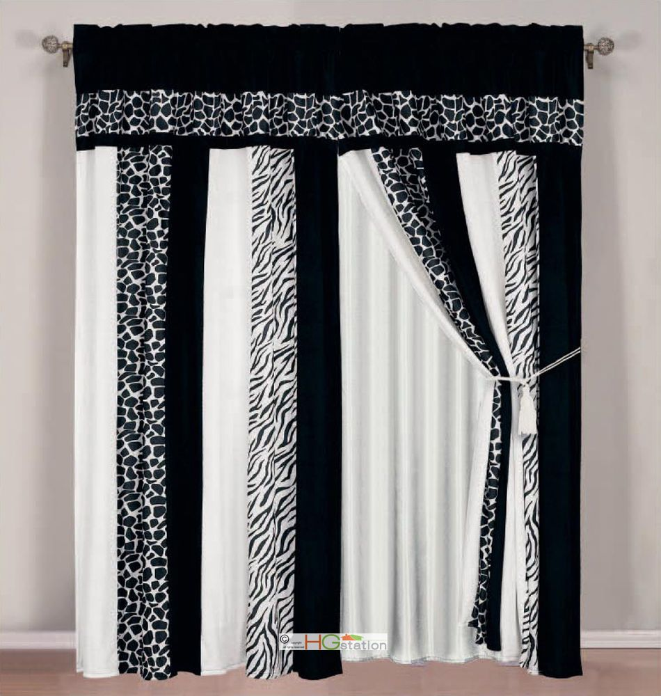 4 Pc Soft Faux Fur Safari Striped Zebra Giraffe Curtain Set Black White Valance Black And White Valance Curtain Sets Valance