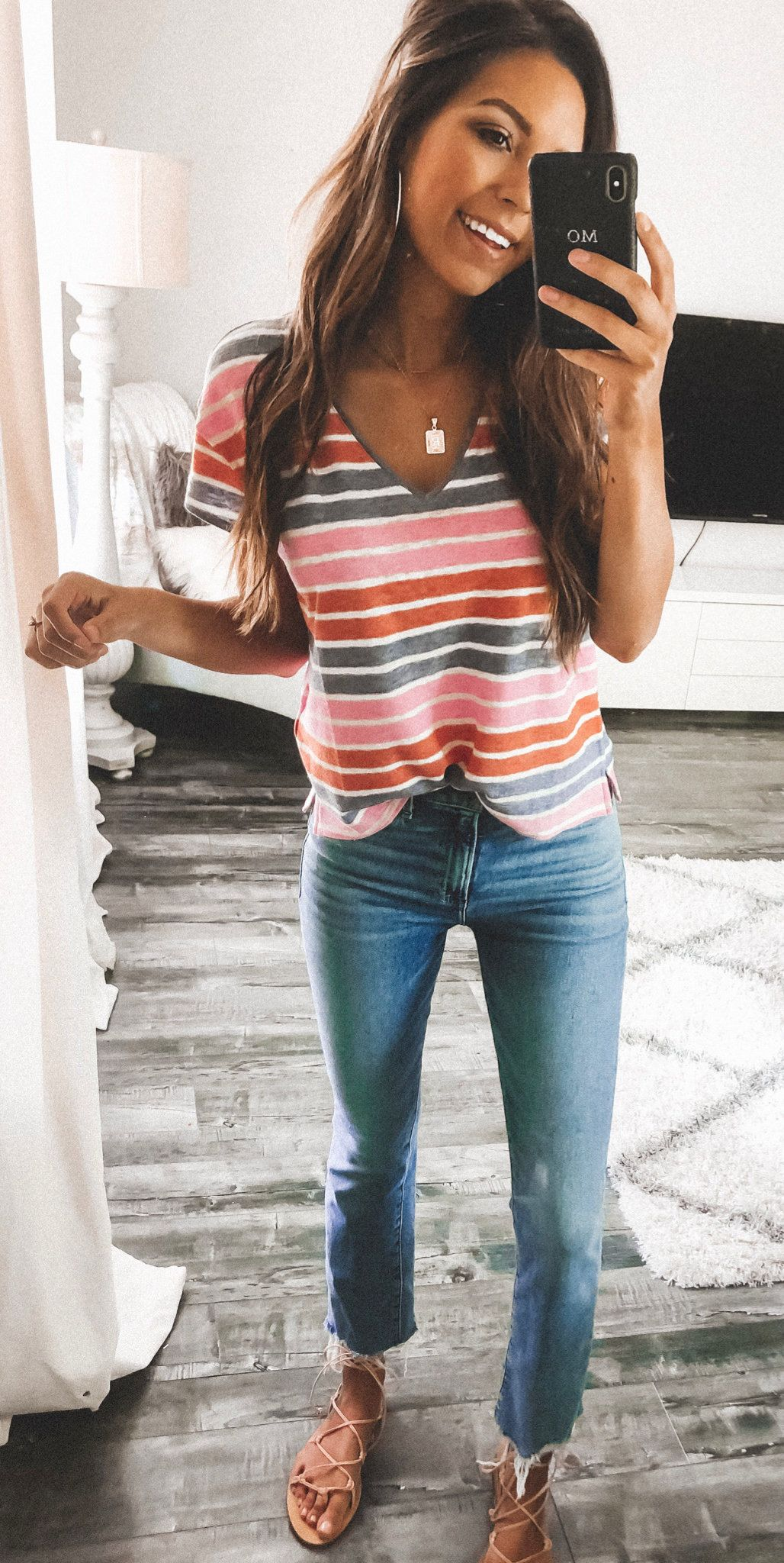 30+ Lovely Summer Outfits To Copy Right Now is part of fashion - Explore multicolored striped shirt and white longsleeved Vneck blousoe  Click to discover these 30+ lovely summer outfits to copy right now