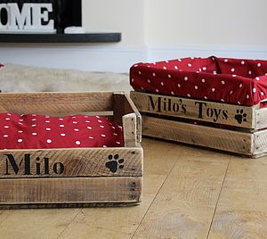 Personalised Wooden Crate Dog Toy Box Home Accessories