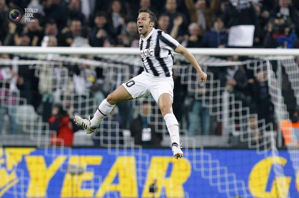 Juventus' Del Piero celebrates after scoring against AC Milan during their Italian Cup semi final soccer match at the Juventus stadium in Turin