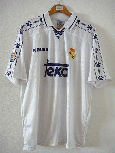 Real Madrid Home football shirt 1996   Madrid football club ...