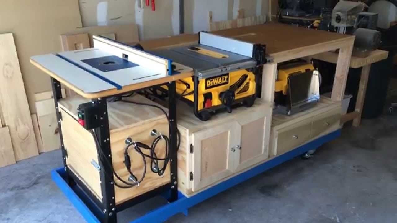 Mobile Workbench Tablesaw and Router Station in 2019