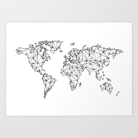 World map white Art Print College Pinterest Wall paintings and - copy world map pdf file