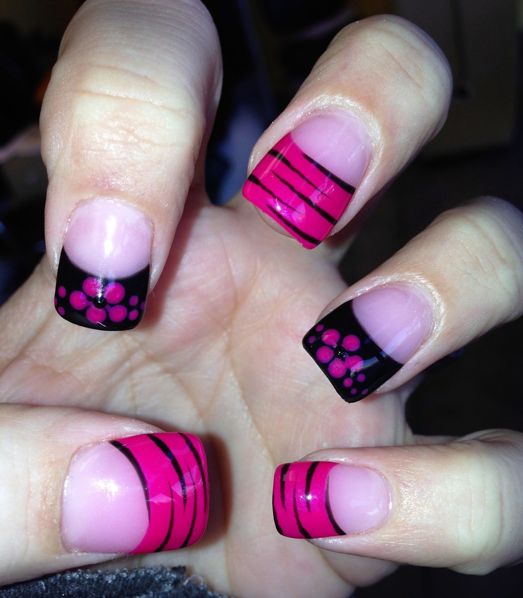 Black And Pink French Tip Nails Nailed it. Pink and bl...
