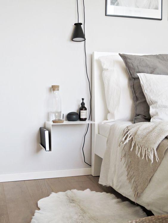 Mesillas de noche para habitaciones pequeñas | Mesita de noche, Para ...
