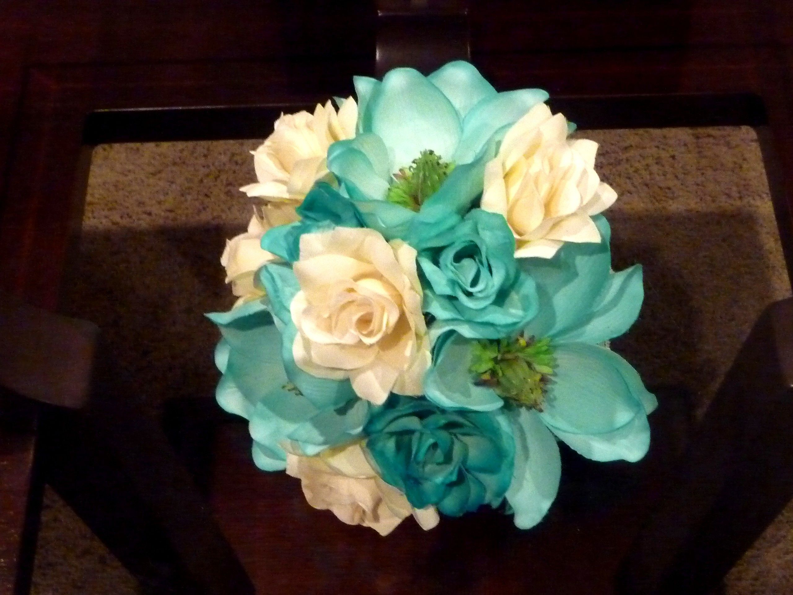 Teal Turquoise Magnolias Transformed Into A Fabulous Silk Bridal Bouquet With Ivory And Roses