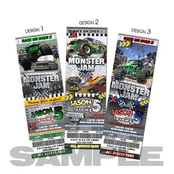Monster truck birthday invitation party invites printable custom
