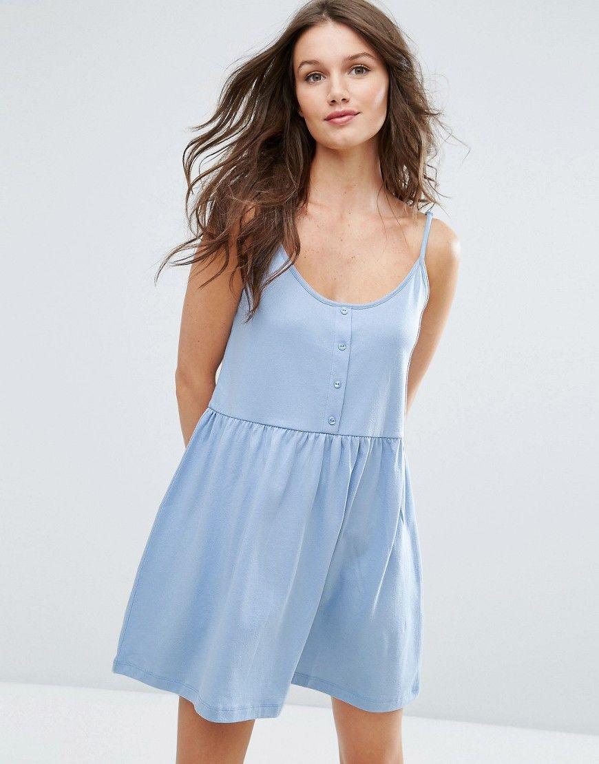 ASOS Cami Smock Dress with Button Placket - Blue | dress | Pinterest ...