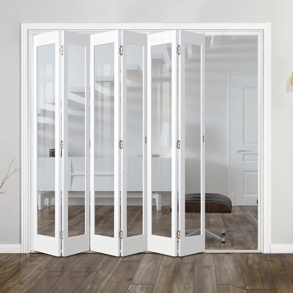 Bespoke Slimline 6 Folding Marston White Doors Clear Glass Prefinished In 2020 Folding Doors Folding Glass Doors Internal Folding Doors