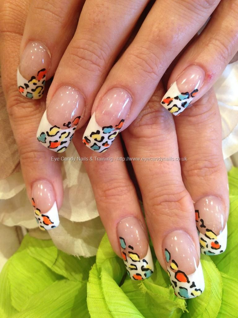 White Tips With Multi Coloured Freehand Leopard Nail Art Blah Blah