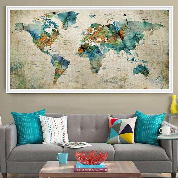 Grote Foto Aan De Muur.Abstract Kunst Aan De Grote Muur Turquoise Wereld Kaart Art Prints