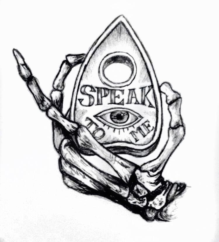 """""""Speak To Me"""" #tattoos #skeleton #planchette #ouija"""