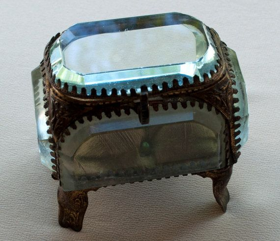 Antique French Jewelry Box Brass and Beveled Glass Box and Glass