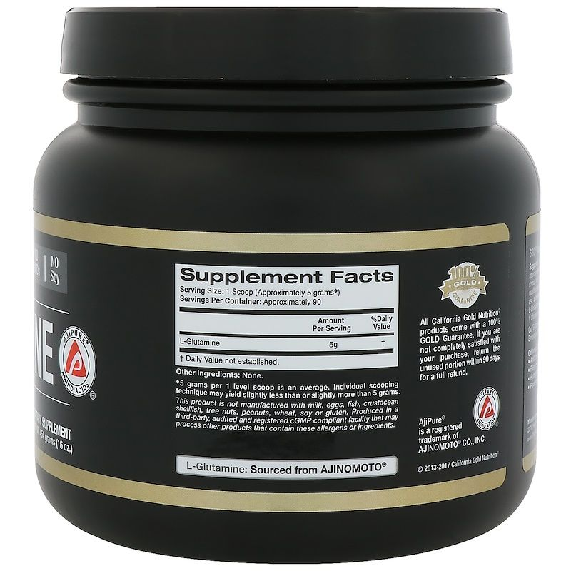California Gold Nutrition مسحوق ل جلوتامين Ajipure 16 أونصة 454 جم Nutrition California Gold California