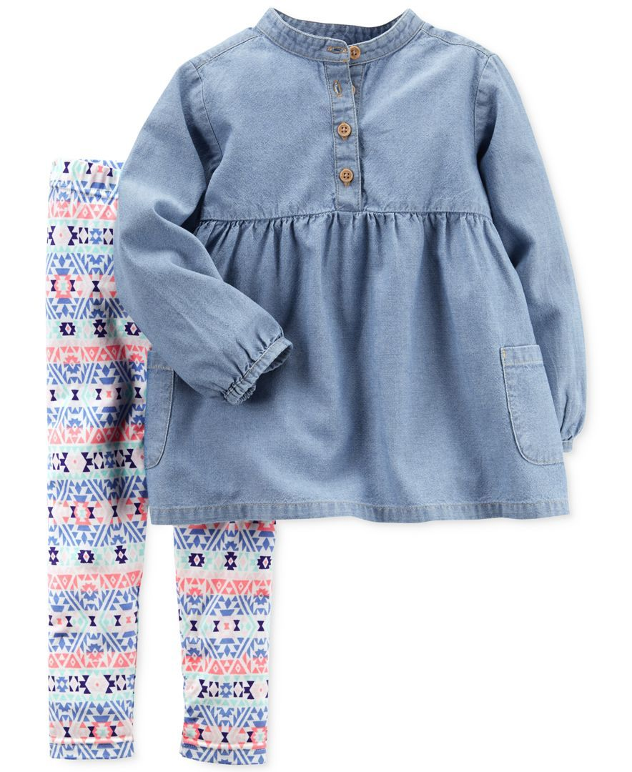 31dbccd94a6 Carter's 2-Pc. Chambray Tunic & Aztec-Print Leggings Set, Baby Girls ...