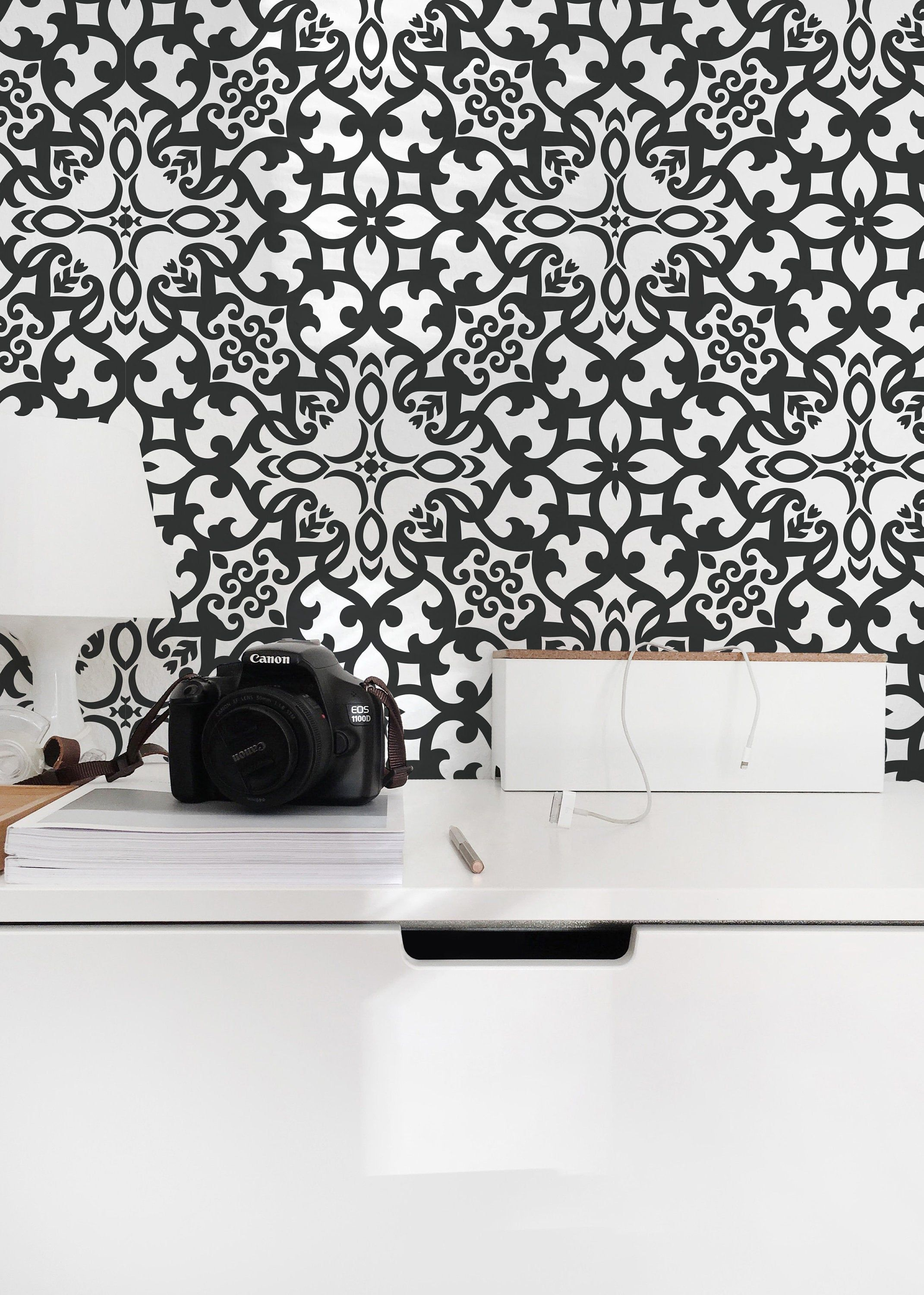 Eclectic Pattern Removable Wallpaper Design Black And White Etsy Removable Wallpaper Self Adhesive Wallpaper Honeycomb Wallpaper
