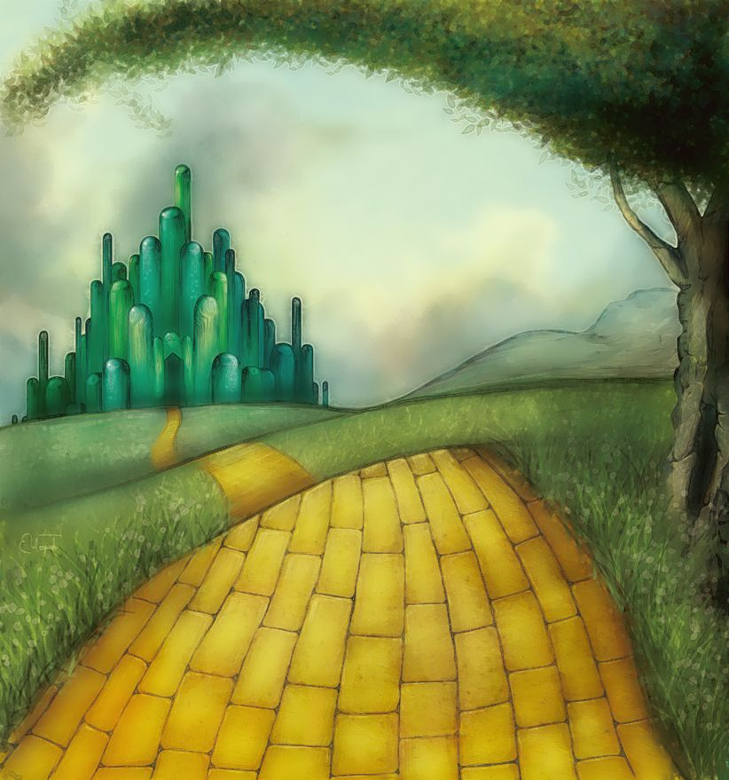 wizard of oz background yellow brick road emerald city