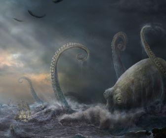 Ocean Seas Monsters Kraken Octopus Fantasy Art Science Hd Wallpaper Sea Monsters Ocean Monsters Creepy Pictures