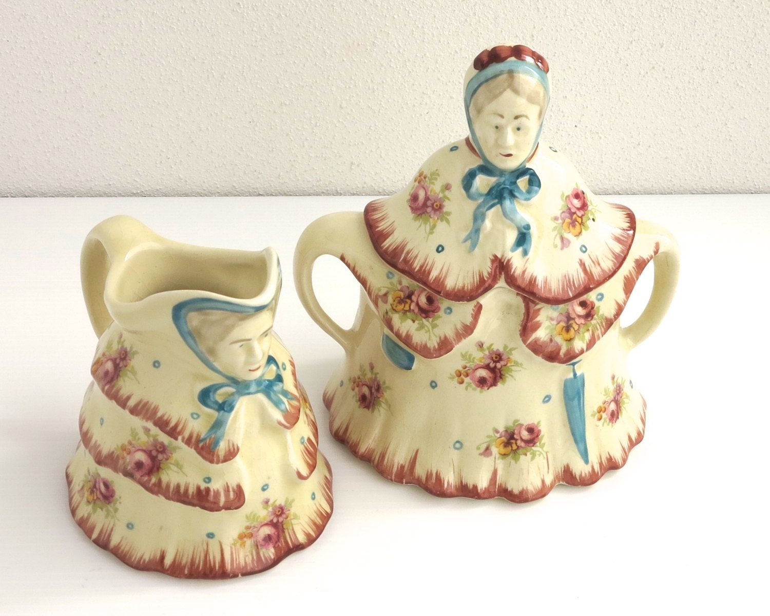 Vintage Little Old Lady sugar bowl and creamer, with old ladies in crinoline dresses, Staffordshire, England, novelty set, 1930s / 40s by CardCurios on Etsy