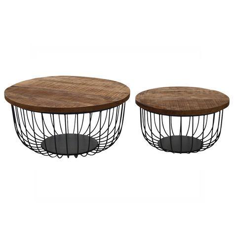 2er Set Couchtisch Eva Rund Metallkorb Mango Stauraum Beistelltisch Sofatisch Sofa Tisch Sofatisch Couchtisch Metall