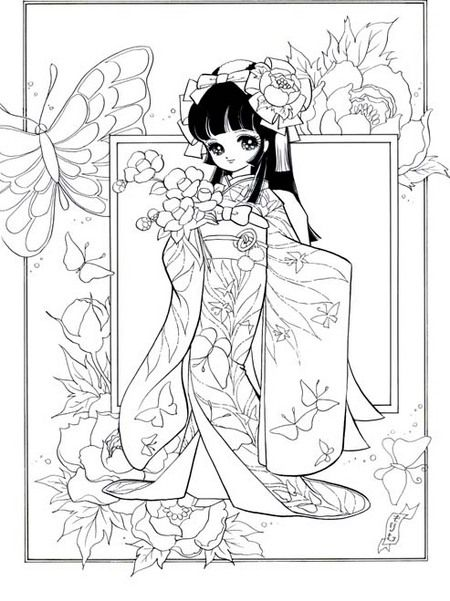 ぬりえ「姫・舞をどり」