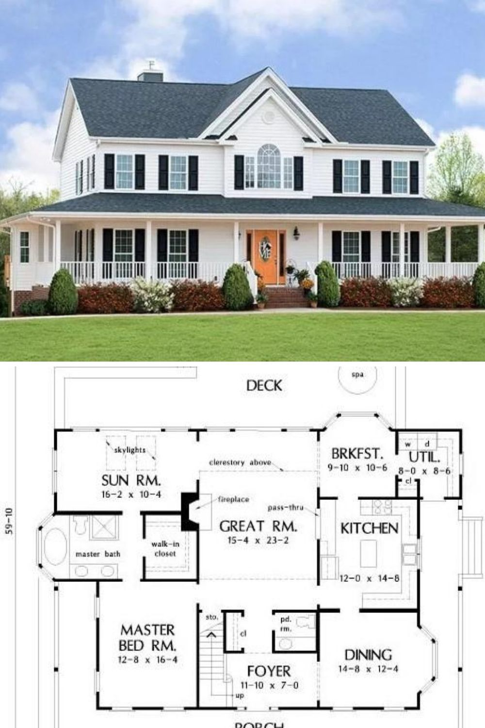 2-Story 4-Bedroom The Riverbend Farmhouse House Plan with ...