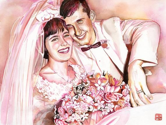 Unusual 50th anniversary gifts ideas for parents, CUSTOM PORTRAIT PAINTING, Golden wedding anniversa #bestgiftsforgrandparents