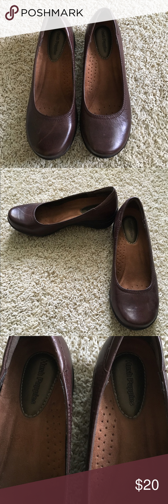 Hush Puppies leather flats. Hush Puppies leather flats.  These have great arch support & ate in excellent condition, perfect for work. Hush Puppies Shoes Flats & Loafers