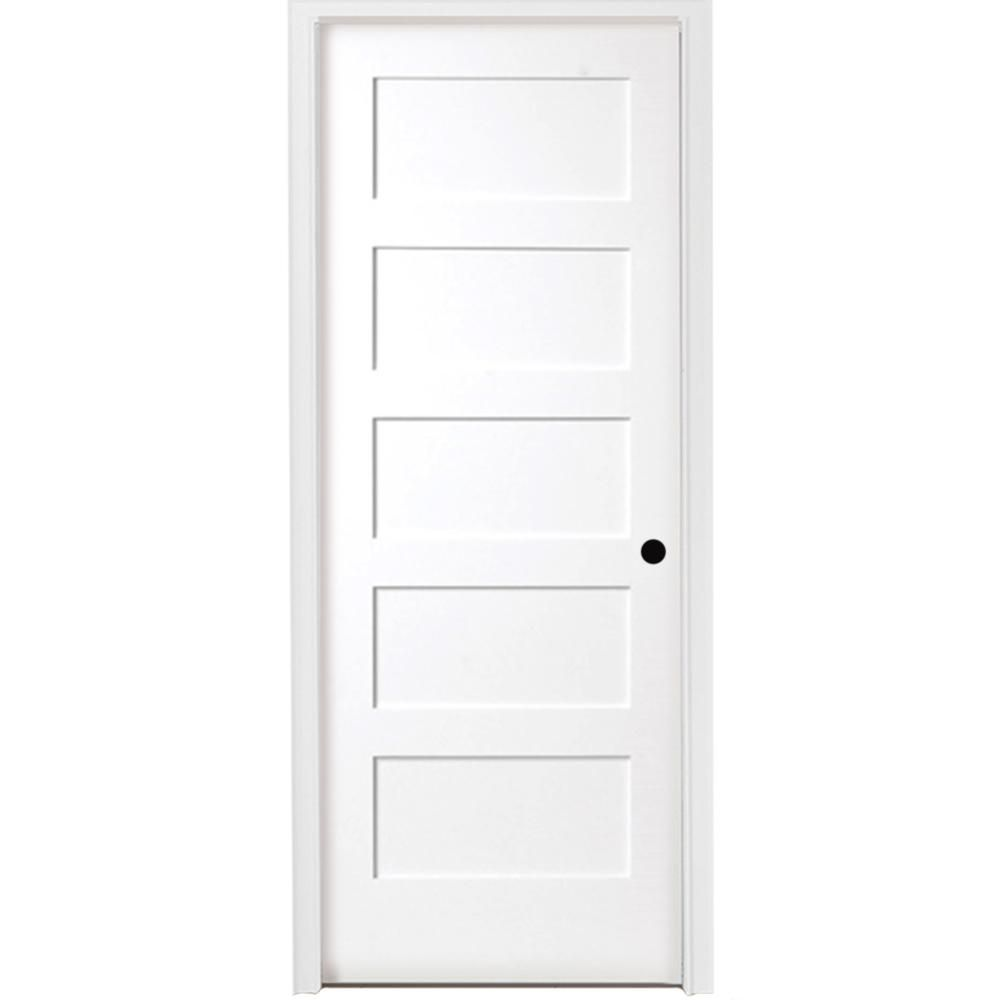 Steves Sons 36 In X 80 In 5 Panel Shaker White Primed Left Hand Solid Core Wood Single Prehung Interior Door With Nickel Hinges Prehung Interior Doors Prehung Doors Solid Core Interior Doors