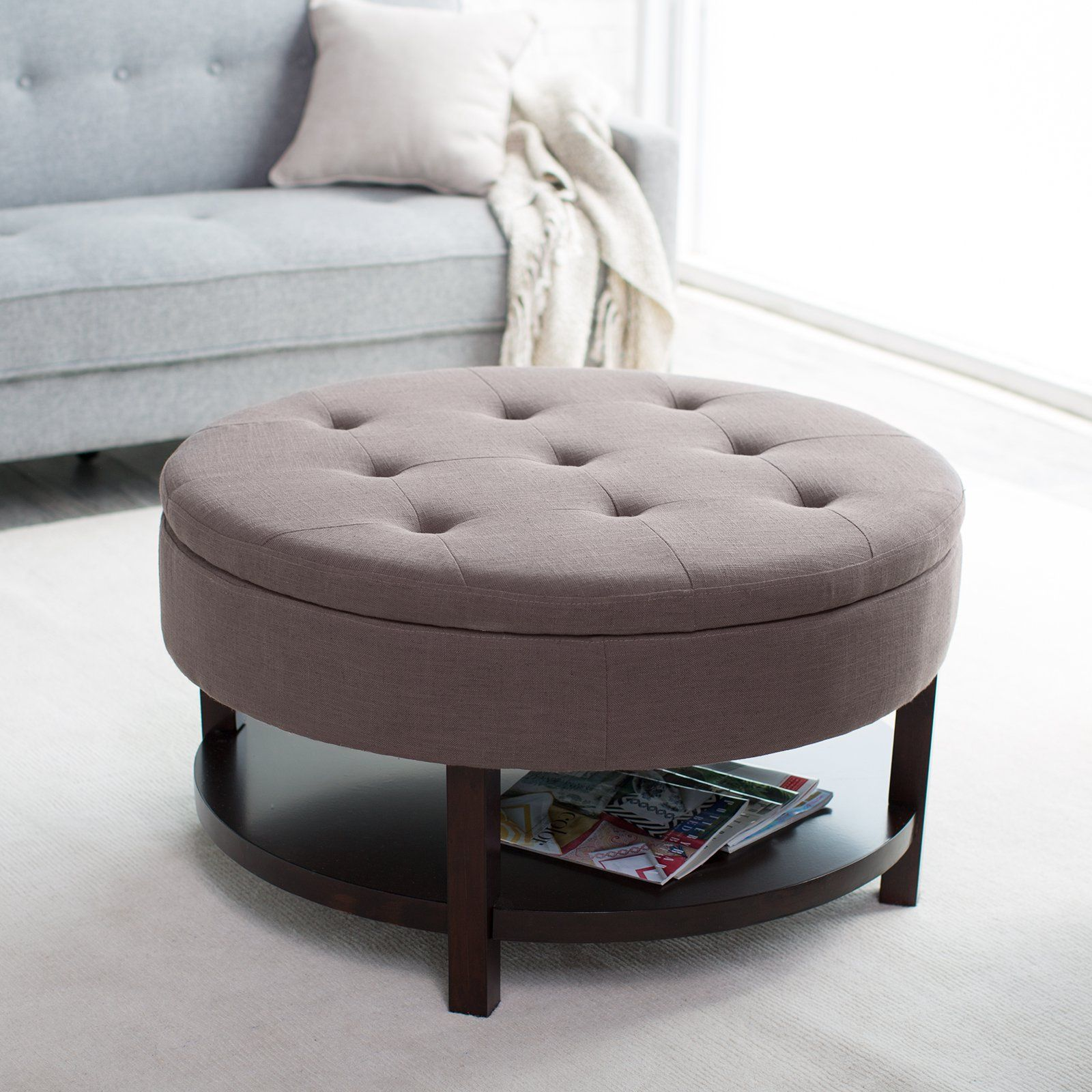 Belham Living Coffee Table Storage Ottoman with ShelfChocolate